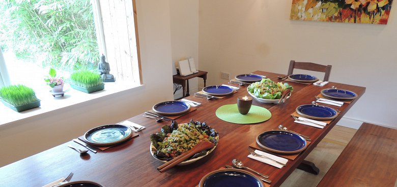 Food on the table, a healthy meal at Cloona Health Retreat